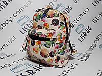 Женский небольшой рюкзак с необычным принтом водонепроницаемый