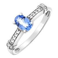 Серебряное кольцо Илайя с кварцем цвета танзанит и фианитами 000055347