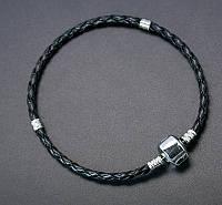 Основа для браслета пандора, детский, кожзам+латунь, черный УТ0002029