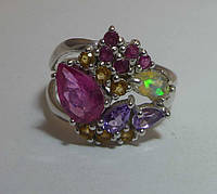 Кольцо с рубином опалом аметистом цитрином турмалином Размер 17.5