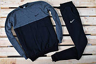 Теплый зимний спортивный костюм мужской Nike (найк), черный с серым