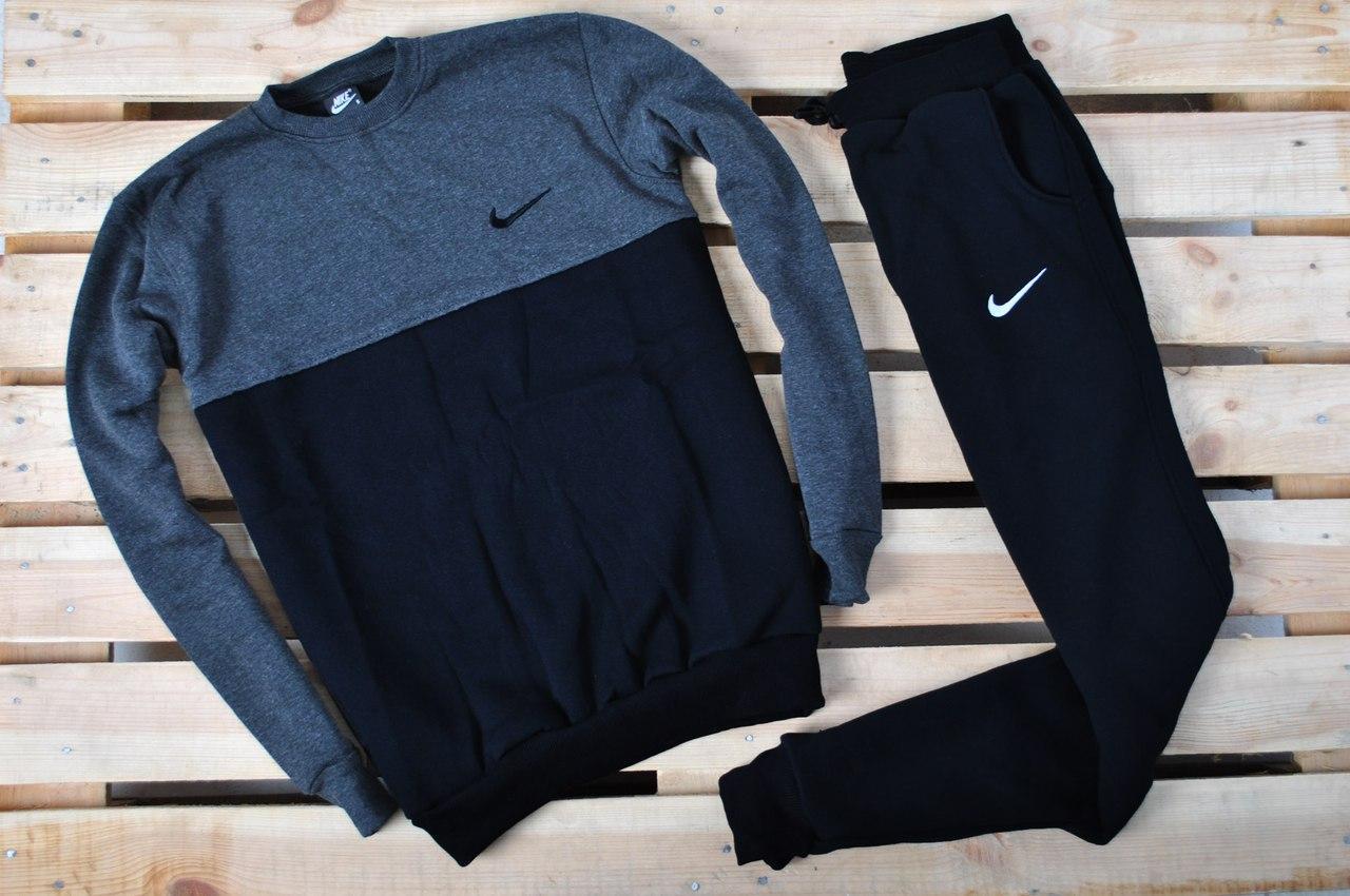 27918b0f Теплый зимний спортивный костюм мужской Nike (найк), черный с серым ...