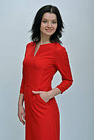 Оригинальное красное платье футляр с карманами размер 34, 36, 38, 40, 42.