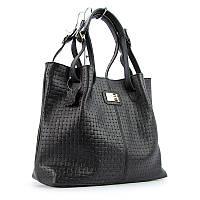 Кожаная женская сумка Viladi черная шоппер с длинными ручками