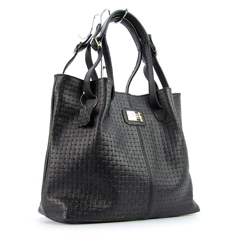 dcb81815c1f0 Кожаная женская сумка Viladi черная шоппер с длинными ручками - Интернет  магазин сумок SUMKOFF - женские