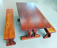 Садовый набор из массива сосны. Стол + 2 лавки.