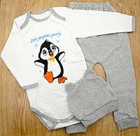 Комплект детский MirAks SCL-4867-01 Grey (Серый/шапочка + боди + штанишки/начес/накат)