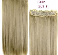 Накладная прядь на пяти клипсах-заколках, длина - 60 см, вес - 120 г, длинные прямые волосы, цвет - №24/613