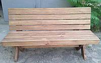 Скамья со спинкой из натурального дерева из комплекта Дельта 1,4м, фото 1