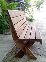 Скамья со спинкой из натурального дерева из комплекта Дельта 1,8м, фото 1