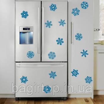 Виниловая наклейка на холодильник -набор снежинок
