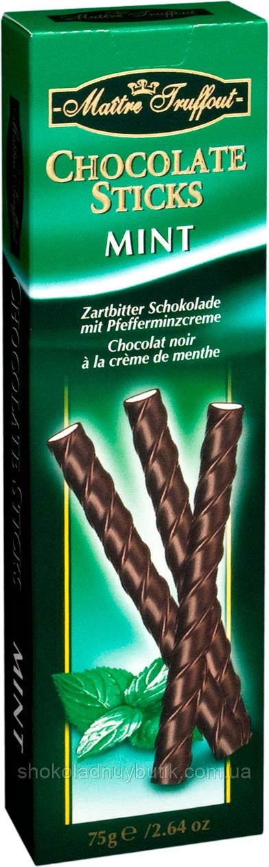 Шоколадные мятные палочки  Maitre Truffout Chocolate Sticks Mint, 75г.