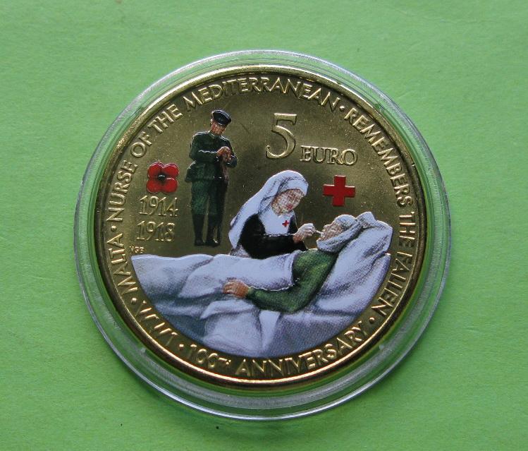 Мальта 5 евро 2014 г. 100 лет со дня начала Первой Мировой Войны . UNC.