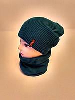 Комплект «Ирина» шапка со снудом бирюзового цвета