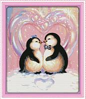 Вышивка крестиком Любовь пингвинов