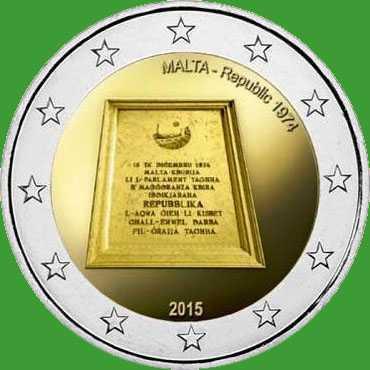 Мальта 2 євро 2015 р. Республіка 1974 р . UNC.
