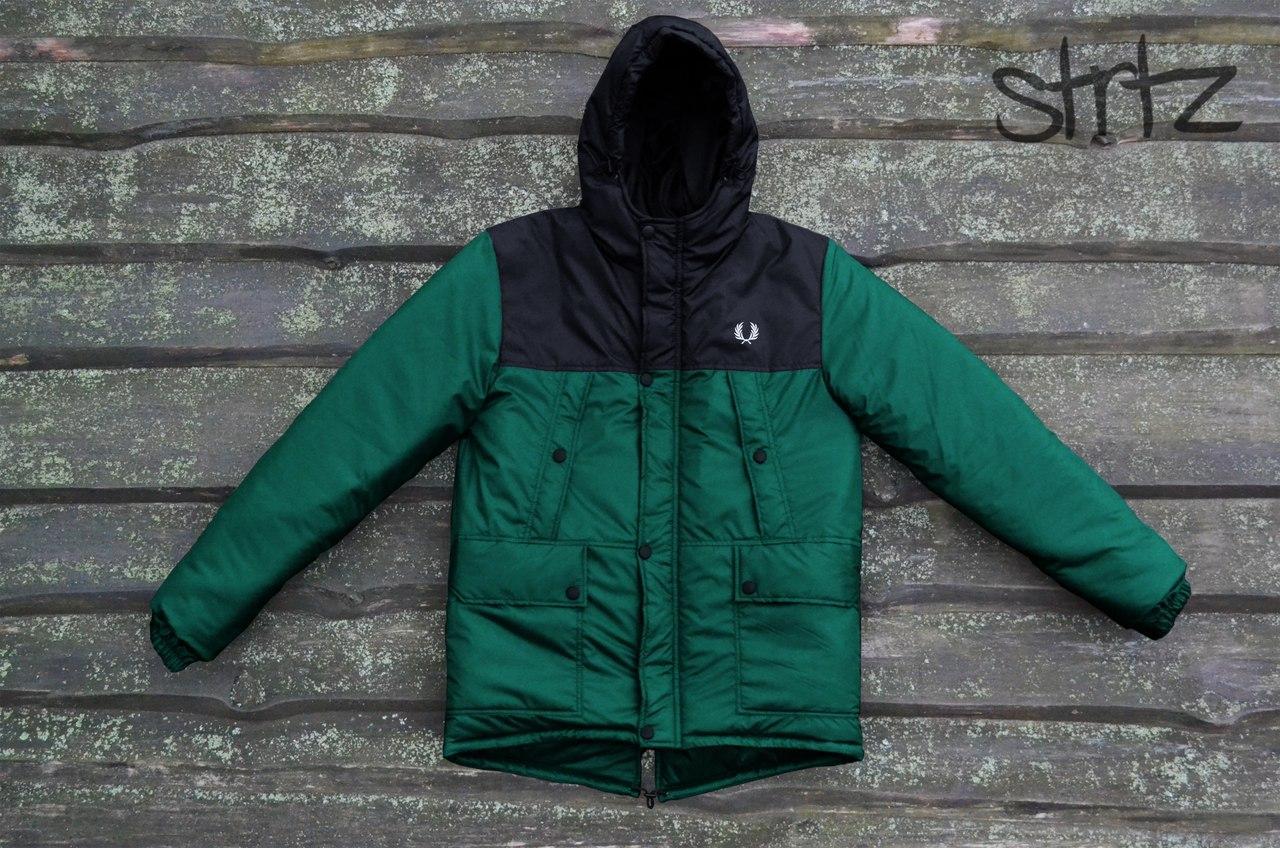 Стильная Зимняя мужская куртка/парка фред перри (Fred Perry) двухцветная