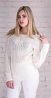 Женский свитер с плетением молоко-2509-вст