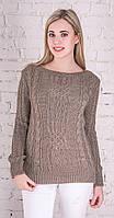 Женский свитер с плетением светло-коричневый-2507-вст