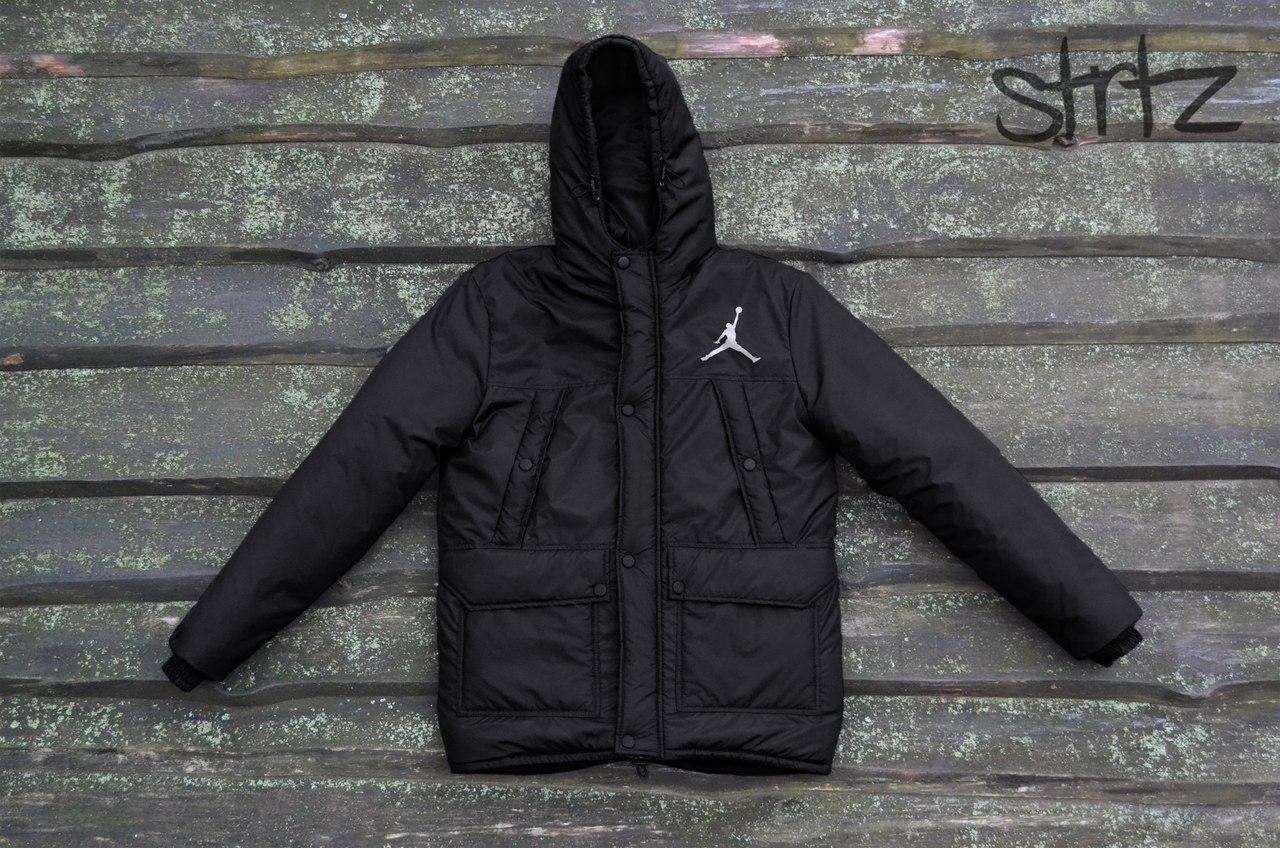 Зимняя модная мужская куртка/парка/пуховик джордан (Jordan), черный
