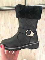 Зимние черные детские сапожки для девочек Размеры 31-36