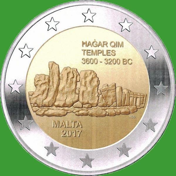 Мальта 2 євро 2017 р. Мегалітичний комплекс Хаджар-Кім . UNC.