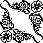 Виниловая наклейка - Узор 2 и цветы, фото 2