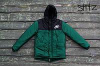 Мужской зимний черно-зеленый пуховик/парка/куртка найки/Nike с капюшоном