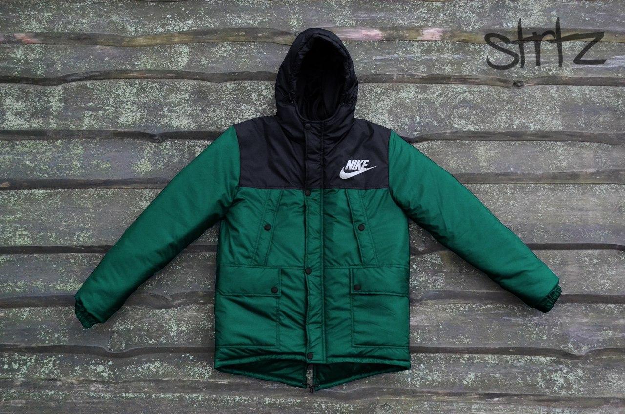 c702ccd5330cb Мужской зимний черно-зеленый пуховик/парка/куртка найки/Nike с капюшоном