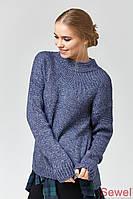 Стильный вязаный свитер синий меланж, размер 44-50