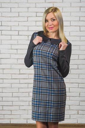 Шерстяное короткое  платье в клетку  серый+синий, фото 2