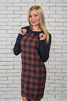 Шерстяное короткое  платье в клетку темно-синий+красный, фото 2