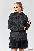 Стильный женский вязаный свитер черный меланж, размер 44-50