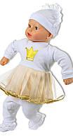 Крестильное платье для девочек с кружевом в интерлоке золото
