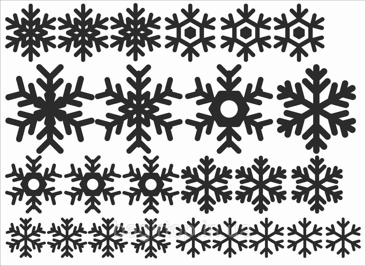 Новорічна вінілова наклейка - сніжинки про