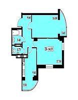 "2 комнатная квартира 64,35 метра, ЖК ""Янтарный"", Одесса"