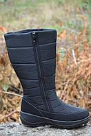 Зимние женские сапожки дутики, черные, толстая анти скользящая подошва (Код: 908)