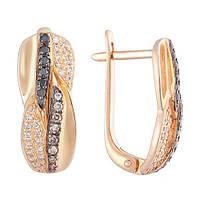 Золотые серьги Варвара с бриллиантами  000031236