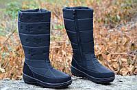 Зимние женские дутики сапожки, черные, толстая анти скользящая подошва (Код: 908а). Только 41р!