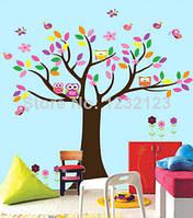 """Наклейка на стену в детскую комнату """"Четыре совы на дереве и одна в дупле"""" (лист90*60см)"""