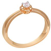 Золотое помолвочное кольцо с бриллиантом Амур 000031543