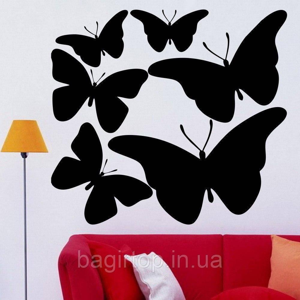 Виниловая интерьерная наклейка - набор (бабочки 6 шт)