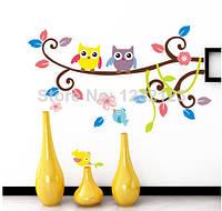 """Наклейка на стену в детскую комнату """"совы с  птичкой на ветке"""""""
