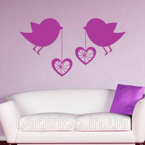 Виниловая интерьерная наклейка -Птички и сердечки