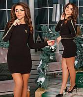 Мини платье отделка  - золотая чешуя арт 2908-86