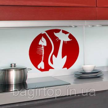Виниловая интерьерная наклейка -Кот держит рыбу