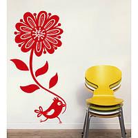 Виниловая интерьерная наклейка -Красивый цветок и птичка