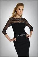 Блузка красивая женская черная Eldar с длинным рукавом (деловая, офисная одежда)