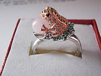 Кольцо Лягушка с розовым кварцем 6 мм-Tiffany style-18.8р-S925-Италия-Эксклюзив !