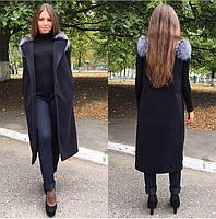 Женская жилетка с натуральным отборным густым мехом финской чернобурки